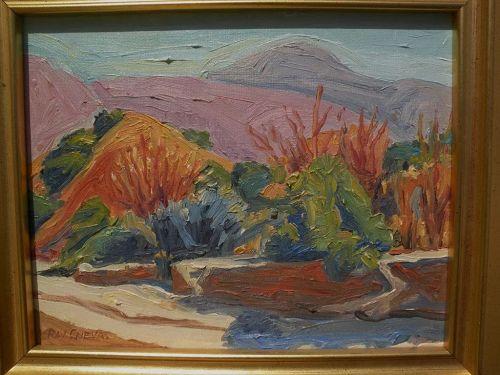 RAY CUEVAS (1932-) California plein air art 1999 painting of San Gabriel Mountains autumn landscape