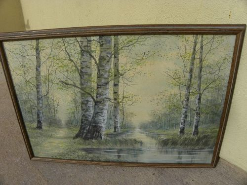 American vintage watercolor painting creek with birch trees
