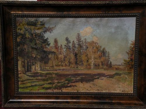 LEONID BORISOVICH YANUSH (1897-1978) Russian art 1951 impressionist forest landscape signed painting