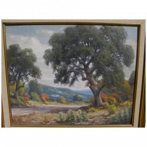 DOLLIE S. NABINGER (1905-1988) Texas art autumn country landscape by well listed artist