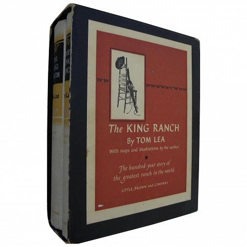 "TOM LEA (1907-2001) signed set of classic Texas books ""The King Ranch"" 1957 in slipcase"