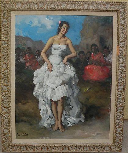 FRANCISCO RODRIGUEZ SANCHEZ CLEMENT (1893-1968) Spanish art large painting of a Flamenco dancer