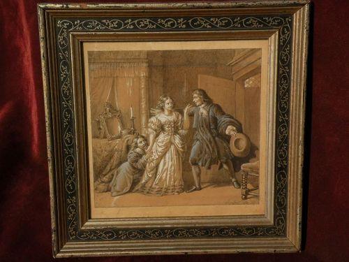 PIERRE NOLASQUE BERGERET (1782-1863) French historical art pencil gouache drawing