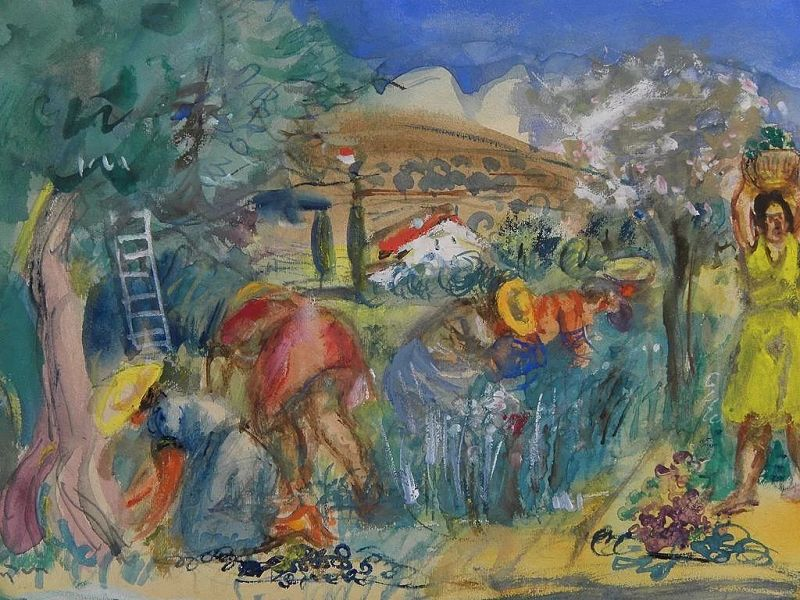 HENRI HAYDEN (1883-1970) colorful gouache and watercolor drawing of figures in the Mediterranean countryside by important School of Paris artist