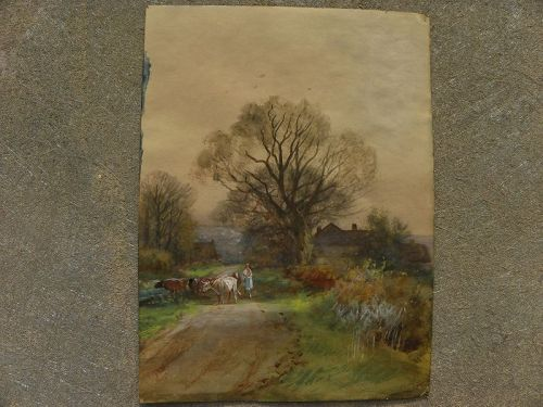 English antique watercolor painting double sided landscape