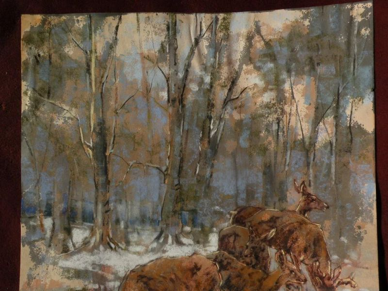 WOLF POGZEBA (1936-1982) Western American wildlife art pastel painting by listed artist