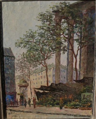 H. PIERREL circa 1960 Paris painting of La Madeleine flower market