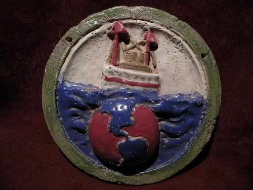 Unusual round fired ceramic hand crafted folk art unique decorative tile dated 1922