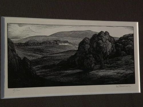 THOMAS W. NASON (1889-1971) American art fine pencil signed landscape print limited edition wood engraving