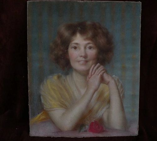 Listed Scottish art by DAVID COMBA ADAMSON (1859-1926) pastel drawing of young lady