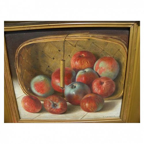 ELBRIDGE AYER BURBANK (1858-1949) fine oil painting of apples in a basket by the noted painter of Native Americans