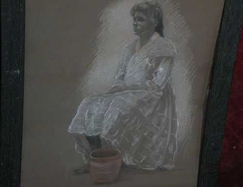 ADELE WATSON (1873-1947) California art color figure drawing by noted woman artist