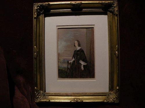 Circa 1860 American Victorian watercolor painting of a young woman in an extensive landscape