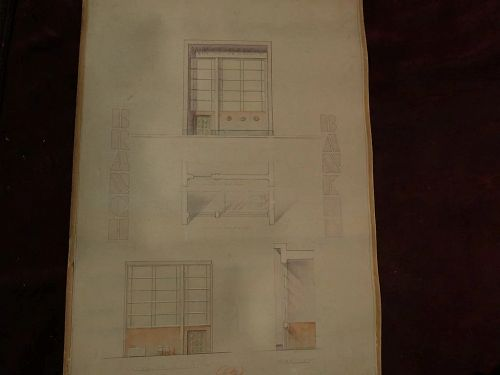Mid-Century Modern/Art Deco inspired original signed 1939 dated architectural drawing for bank facade and interior