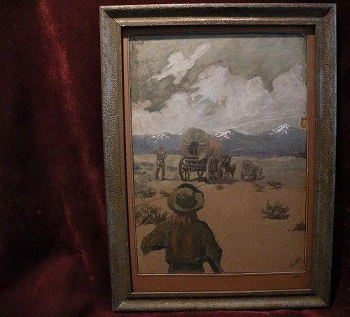 FREDERIC MIZEN (1888-1964) listed western American art gouache illustration painting plainsmen and conestoga wagon