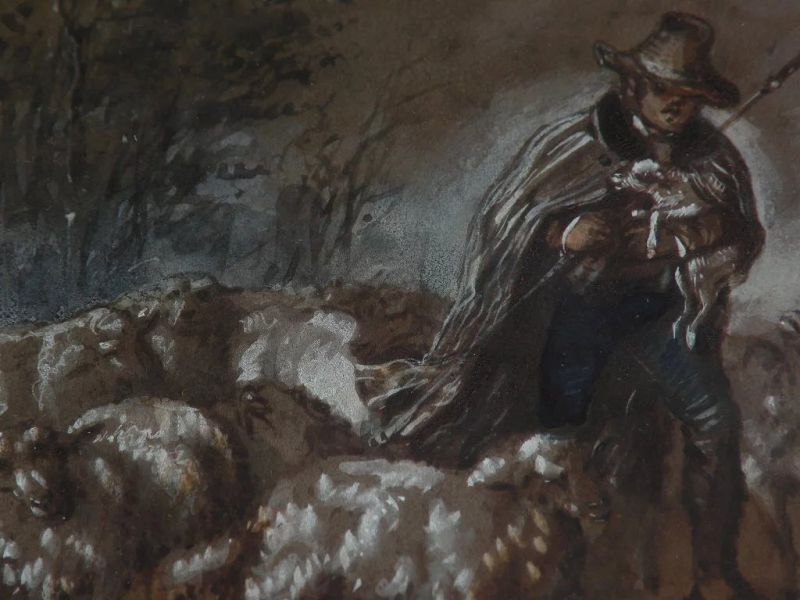 PIERRE FREDERIC LEHNERT (1811-?) signed mid 19th century French art gouache drawing shepherd and flock