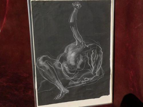 MARTIN MONDRUS (1925-) California modernist painter chalk figure drawing on paper