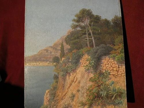EUGENE H. FREY (1864-1930) Monaco fine plein air exhibited coast painting by listed French artist