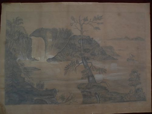Canadian art 1871 pencil drawing of Montmorency Falls Quebec charmingly folky and rare historical Canadiana