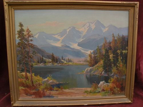 OLIVER GLEN BARRETT (1903-1970) California plein air art high mountain impressionist landscape painting