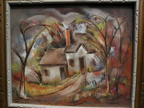 "BENJAMIN ALBERT STAHL (1910-1987) expressionist oil painting ""Laurel Canyon"" by important American illustrator artist"