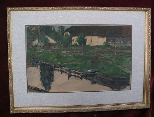BENJAMIN RUTHERFORD FITZ (1855-1891) listed American art signed watercolor painting dated 1883