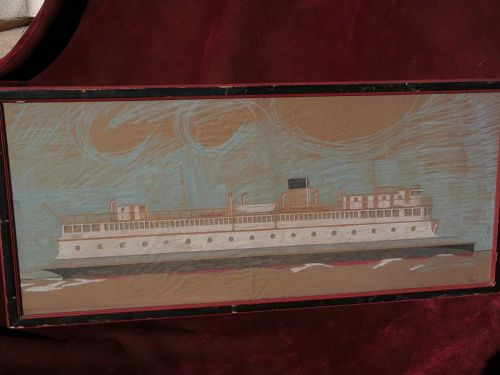 Marine art signed color drawing of ferry boat very detailed