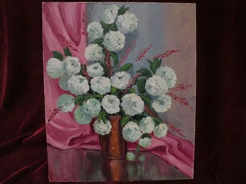 EUGENE DUNLAP (1916-1999)  California impressionist art floral still life painting circa 1940s