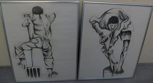 STANLEY NKOSI (1945-1988) South African modern art PAIR charcoal drawings of laborers
