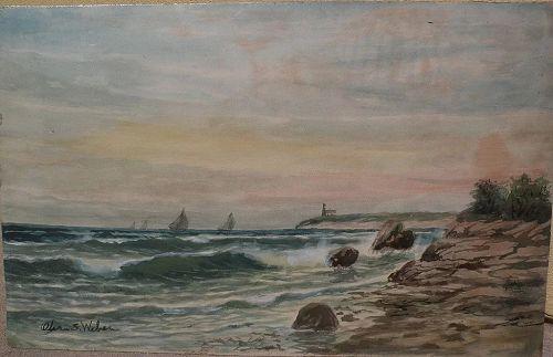 OTIS S. WEBER (1847-) nineteenth century American marine art coastal watercolor by listed New England artist