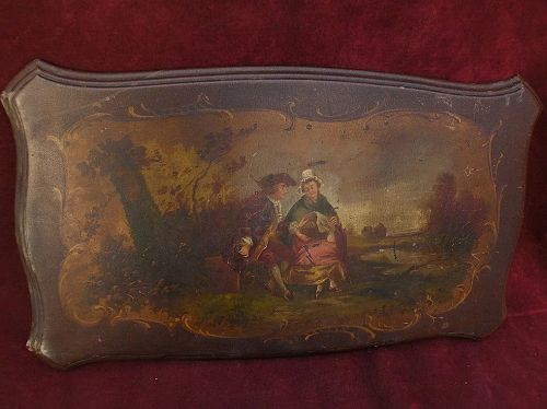 Nineteenth century Old Master style French painting on wood tabletop