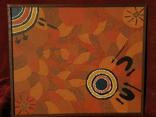 Australian aboriginal traditional tribal art dot painting