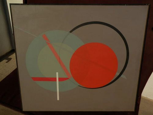 """Large signed mid century style modern colorful """"hard edge"""" abstract painting"""