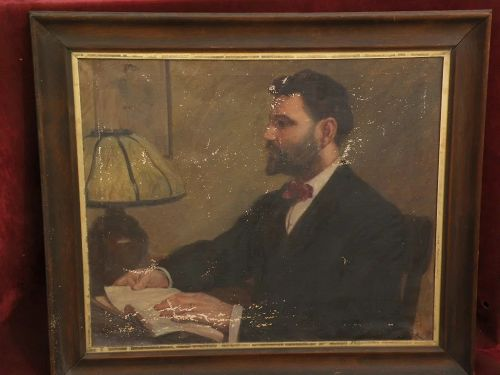 R.A. KISSACK (1878-) American art painting of man in interior with lamp, dated 1911