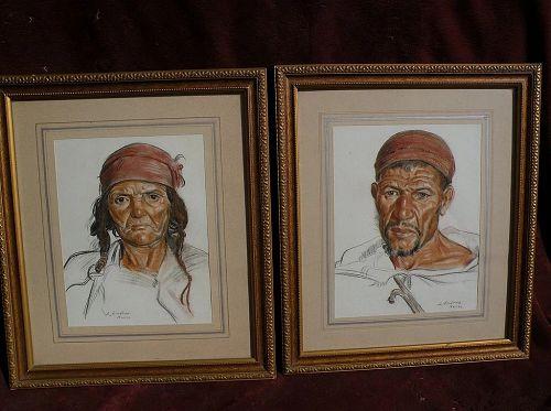LOUIS J. ENDRES (1896-1989) well listed American orientalist artist **pair** of original pastel drawings