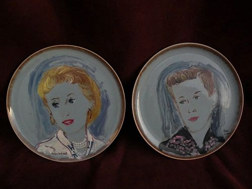 GEORGE CHANN (1913-1995) major Chinese American artist **PAIR** of portrait paintings on porcelain plates