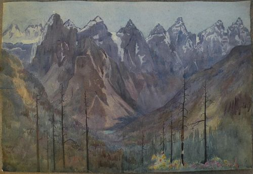 Vintage Canadian art 1912 quality watercolor of Ten Peaks and Moraine Lake in Alberta by unknown artist