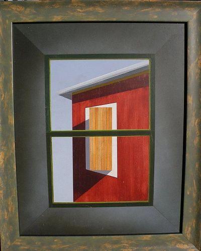 JOHN KALAMARAS (1936-) contemporary painting on panel roofline and windows
