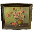 American signed vintage oil painting still life of roses