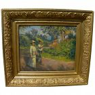 EUGENE CHAFFANEL (1860-1929) French impressionist painting figures in country landscape