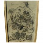GENIA HADJI-MINACHE (1907-1972) large exhibited exotic Orientalist style drawing by Russian-French artist