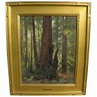 Impressionist painting of redwood forest possibly by GUTZON BORGLUM (1867-1941)