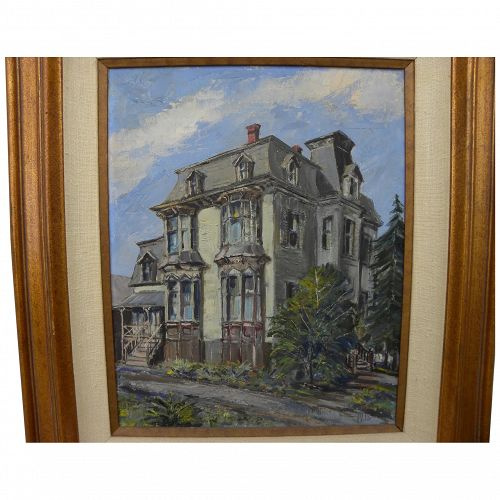 WILFRID TAYLOR MILLS (1912-1988) California art oil painting of classic Victorian house