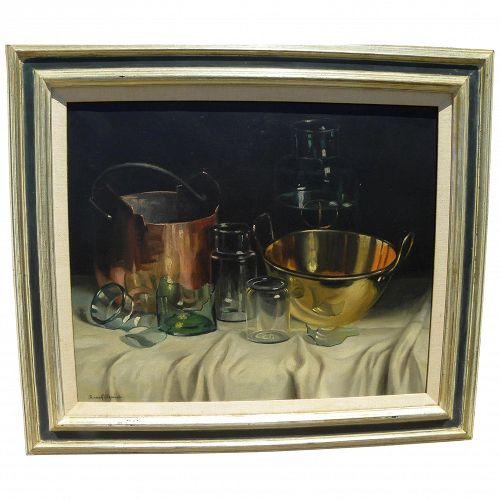 ROMEK ARPAD (1883-1960) Hungarian art fine realistic still life painting by well listed artist