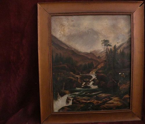 Antique Colorado art early painting of Mountain of the Holy Cross after Thomas Moran