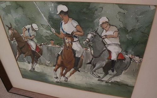 ALICE LORD MARSHALL (1895-1993) vintage watercolor painting of polo horses by listed Arizona artist