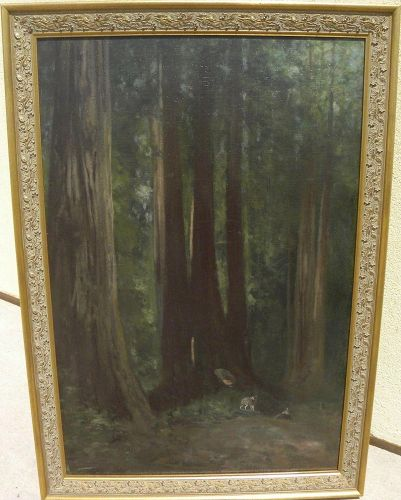 CHARLES DORMAN ROBINSON (1847-1933) California plein air art oil painting hushed big tree forest interior with deer