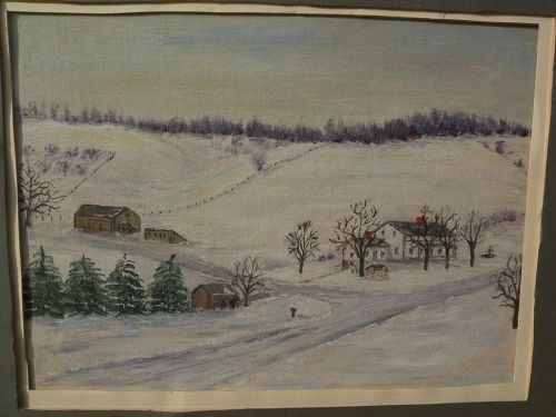 Naive American folk art painting Northeast winter landscape in style of Grandma Moses
