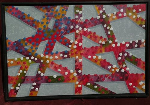 Abstract contemporary art three dimensional signed gallery painting