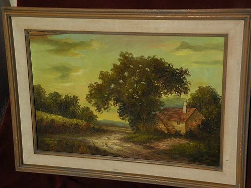 Decorative large signed impressionist American landscape oil painting